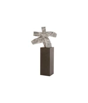 Tai Chi Sculpture on Pedestal, Grey Stone/Black