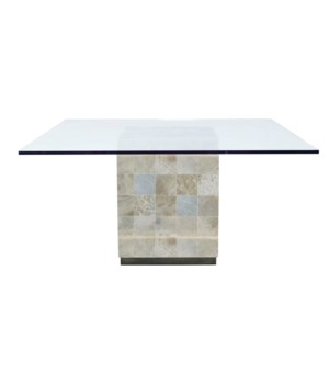 Trimbelle Dining Table with Round Glass Top