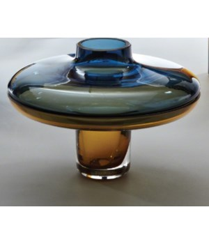 Low Cobalt Over Amber Vase, Small