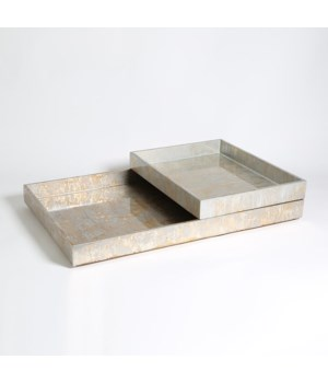 Champagne Silver Leaf Rect Tray Small