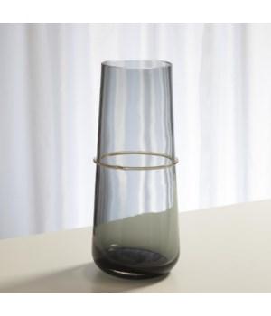 Ribbon Wrapped Vase, Grey, Large