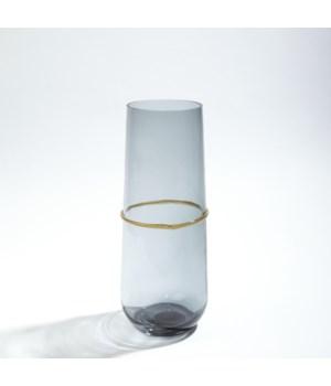 Ribbon Wrapped Vase, Grey, Medium