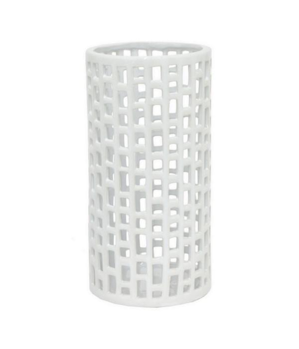 "White Ceramic Vase, 12"""