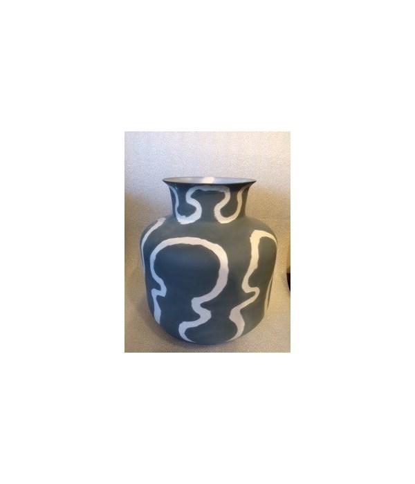 Porcelain Monk Vase, Sandblast, Steel Grey Exterior