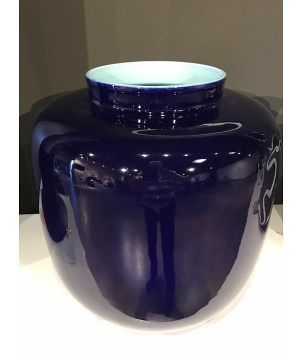 Porcelain Pomegranate Vase, Celadon Interior and Indigo Exterior