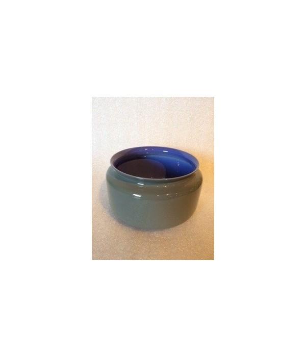 Porcelain Persimmon Vase, Lavender Interior and Steel Grey Exterior