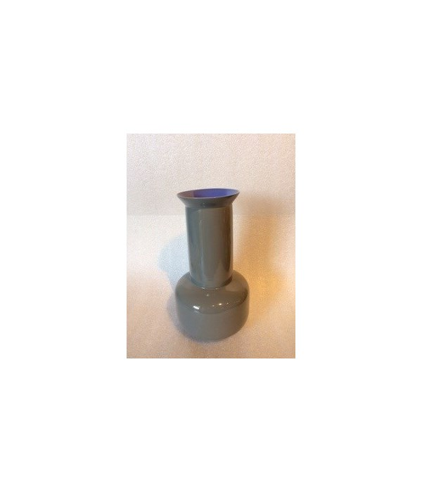 Medium Porcelain Sage Vase, Lavender Interior and Steel Grey Exterior