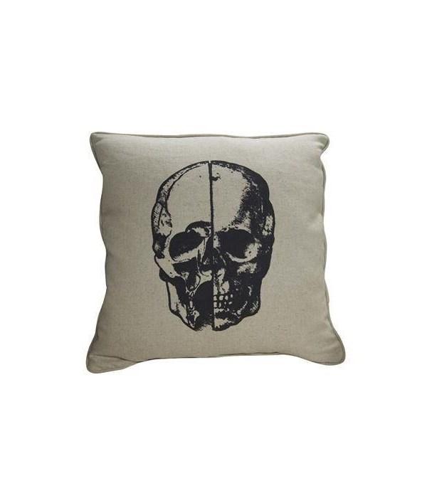 Skull Pillow, Focus Linen Fabric, 22x22
