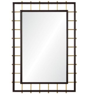 Dark Mahogany & Burnished Brass Mirror