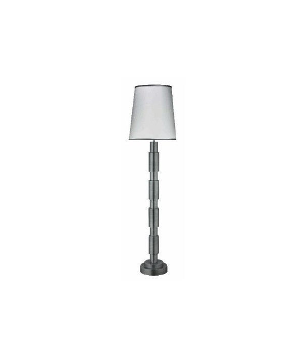 Quinn Floor Lamp in Antique Silver with Tall Cone Shade in White Silk with Granite Silk Trim
