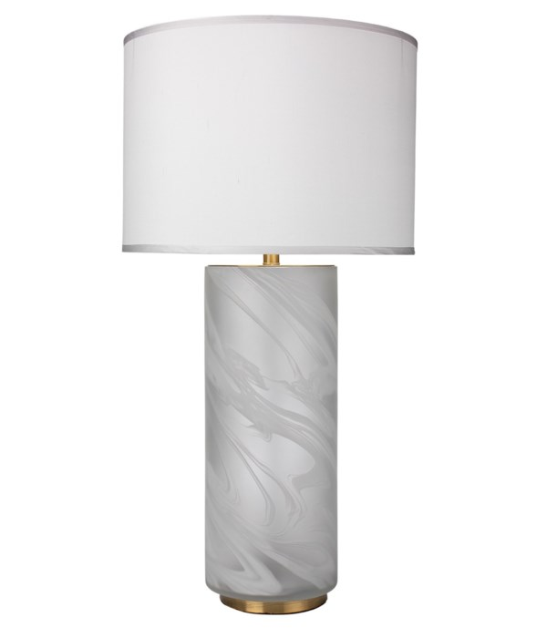 Large Streamer Matte Clear and White Swirl Table Lamp with Large Drum Shade