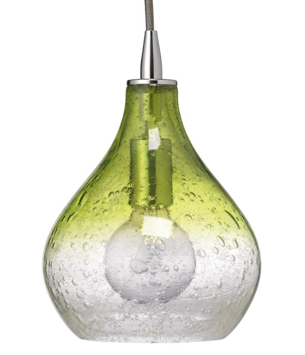 Small Curved Pendant in Green and Clear Seeded Glass