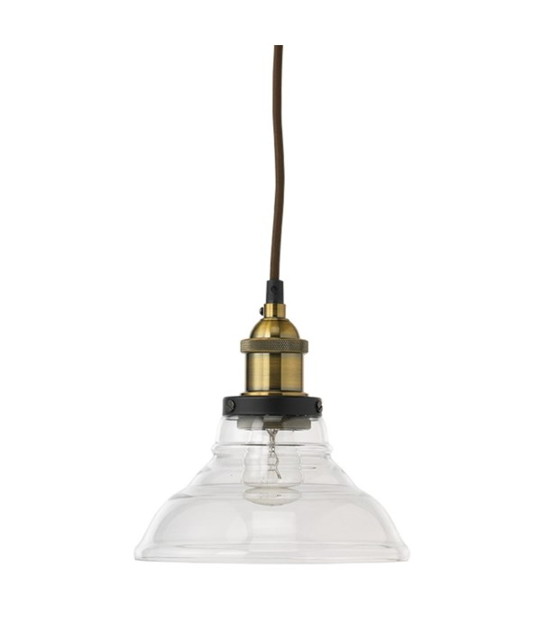Factory Bell Pendant in Brass and Clear Glass