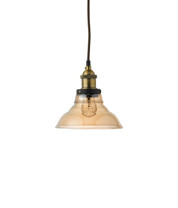 Factory Bell Pendant in Brass and Gold Glass