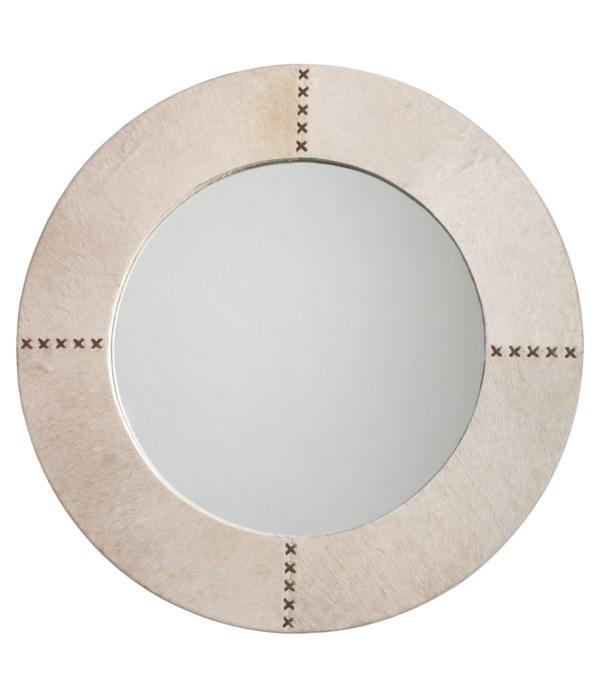 Round Cross Stitch Mirror in White Hide