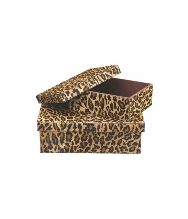 Frontera Boxes in Leopard Hide, Set of 2