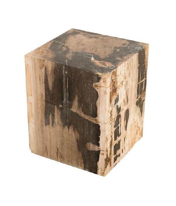 Petrified Wood Stool, Square Full Polish