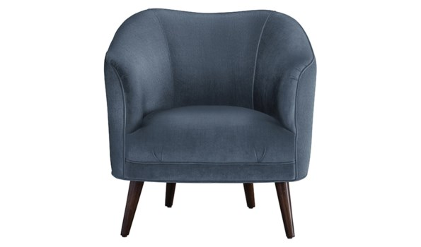 Duprey Chair, Harbor Velvet, Dark Walnut