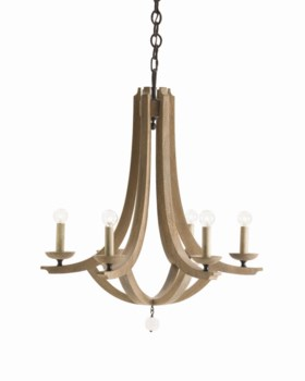 Manning Large 6L Wood/Crystal Chandelier