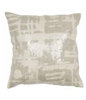 Yorkville Kate Spade Painterly Plaid Platinum Pillow