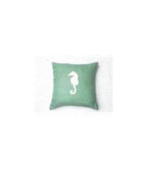 Aqua w/ White Seahorse Pillow