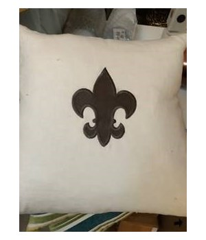 White Linen with Gray Fleur De Lis Pillow