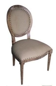 Kent Side Chair w/ Olive Cotton, Grey Wash