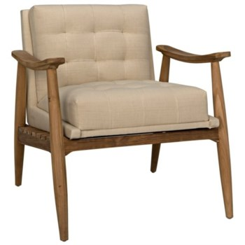 Lazaros Chair, Teak with Off White Canvas