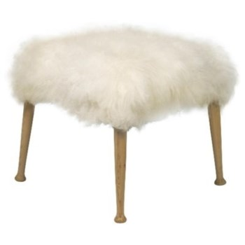Bianca Stool, Elm and Flokati
