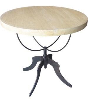 Wine Table w,  Adj. Base, Vintage Grey