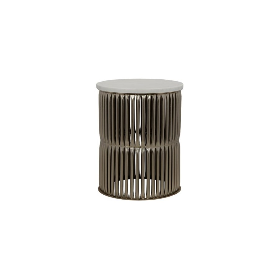 Lenox Side Table, Antique Silver with White Stone