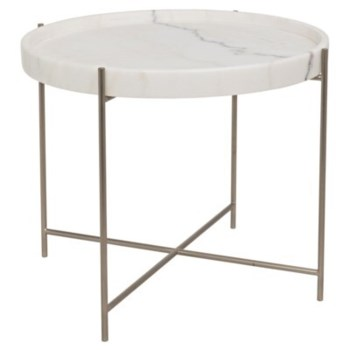 Chuy Side Table, Antique Silver