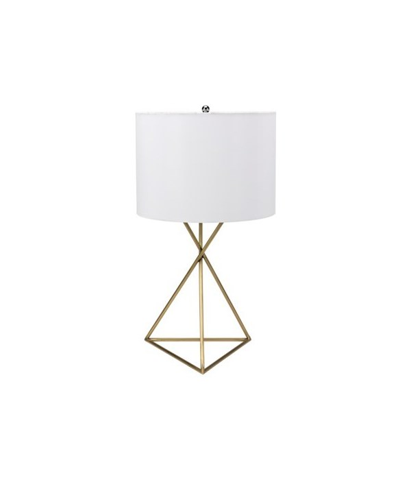 Triangle Table Lamp with Shade, Antique Brass