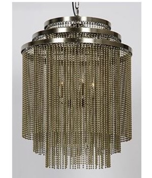 Veil Chandelier, Metal with Antique Brass Finish