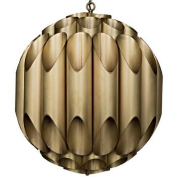 Globular Chandelier, Antique Brass