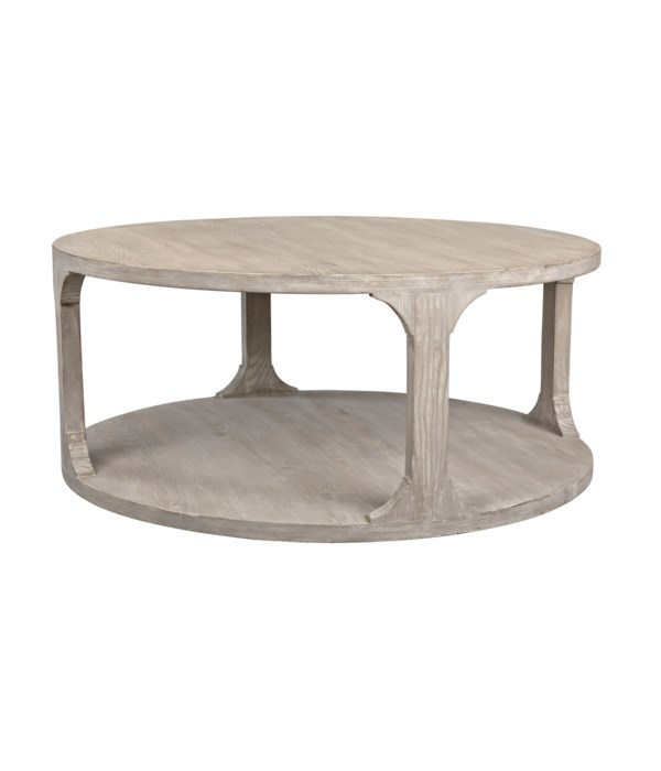 Gimso Round Coffee Table, Small, Gray Wash Wax