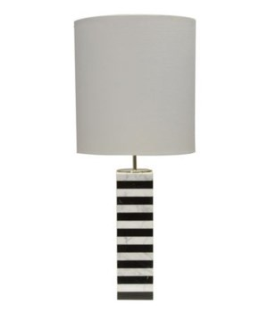Marble Stack Table Lamp with White Linen Drum Shade