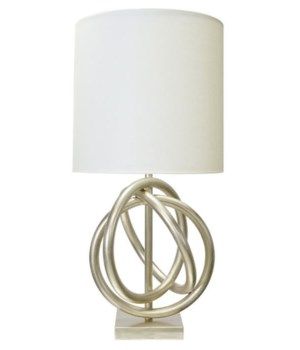 Silver Leaf 3 Ring Table Lamp with White Linen Shade