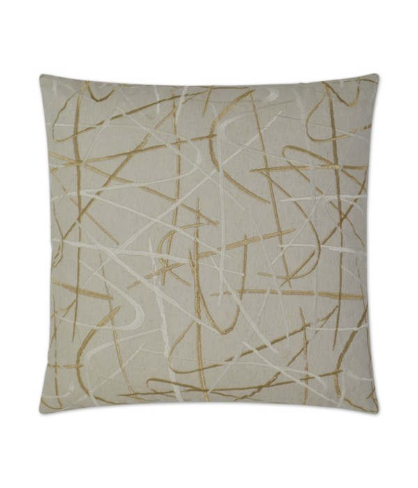 Scribble Square Gold Pillow