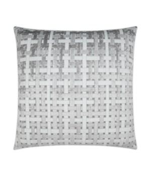 Trellis Velvet Square Grey Pillow