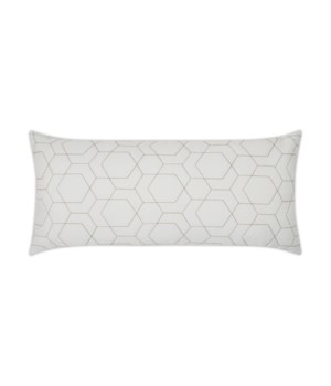 Hex Quilt Lumbar White Pillow