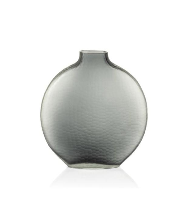 Indigo Smoke Gray Moon Shape Glass Vase