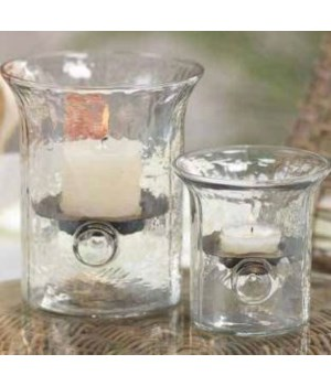 Small, Artisan Hammered Glass and Wrought Iron Hurricane