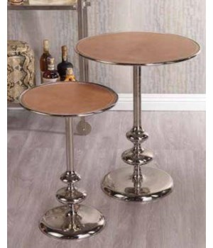 Leather Top Aluminum Table, Large