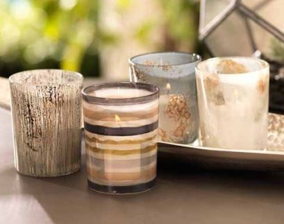 Four Assorted Decaled Glass Votive Holders