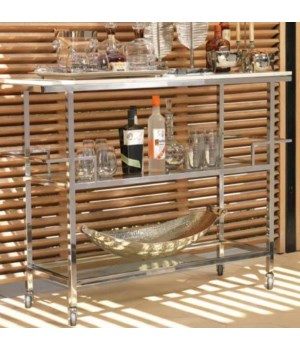 Porto Servo Silver Metal Bar Cart w/ Makrana Albeta Marble Top