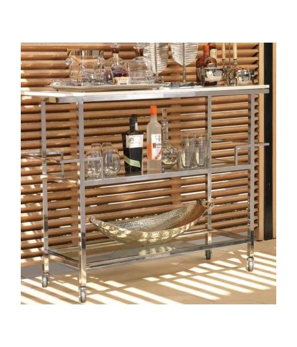 Porto Servo Silver Metal Bar Cart w,  Makrana Albeta Marble Top