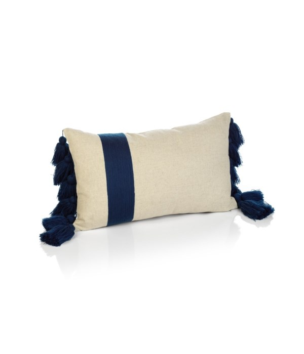 Polignani Embroidered Throw Pillow with Tassels
