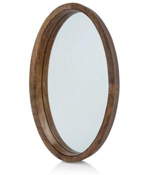 Heritage Mango Wood Oval Mirror/Tray