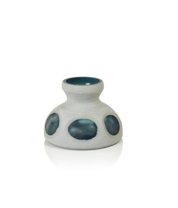 Double Wall Gray and Blue Glass Vase